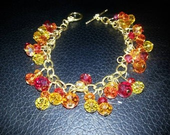 Red Yellow Orange Yellowish Orange Beaded Bracelet