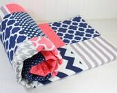 Girl Crib Bedding, Girl Baby Blanket, Nursery Decor, Baby Shower Gift, Coral Pink, Navy Blue, Gray, Grey, White, Girl, Navy