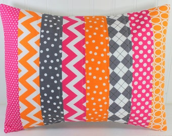 Nursery Cushion Cover, Pillow Cover, Patchwork Pillow Cover, Girl Nursery Decor, 12 x 16 Inches, Magenta Pink, Orange, Bright Pink, Gray