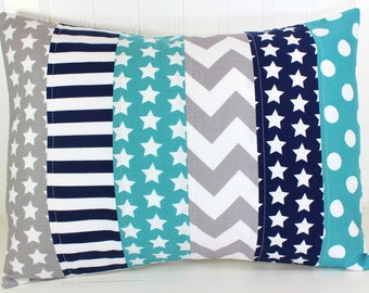 Pillow Cover, Nursery Pillow Cover, Patchwork Pillow, Gender Neutral Nursery Decor, 12 x 16 Inches, Teal Blue, Gray, Grey, Navy Blue, Stars