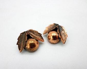 Adorable Little Copper Clip On Earrings by Bell