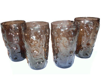 4 Vintage   Drinking Glasses Bryce El Rancho Smoke Brown Amber Tumblers Textured Motif