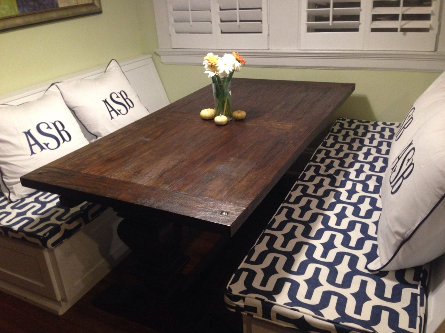 Custom Sewn Kitchen Bench Seat Cushion With Cording