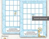 Blue Giraffe Jungle Baby Shower Bingo Game INSTANT DOWNLOAD Print your Own pdf file