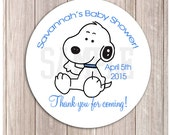 """Baby Snoopy Boy Baby Shower or Birthday Favor Stickers, Printed or Printable DIY 2.5"""" Round"""