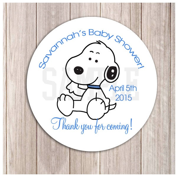 baby snoopy boy baby shower or birthday favor stickers, Baby shower