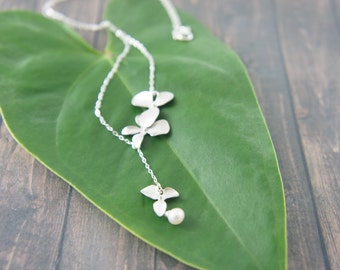 silver orchid flower necklace - with peal, layered necklace , wedding, bridesmaids, Hawaiian wedding, beach wedding