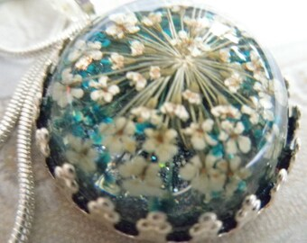 Queen Anne's Lace In  Turquoise & White Domed Crown Pendant Atop Glowing Turquoise Background-Nature's Art-Gifts Under 30-Symbolizes Peace