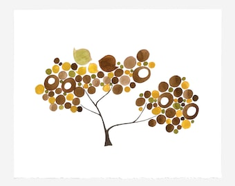 Wedding Gift Anniversary Gift - BROWNS FAMILY TREE - Giclee Art Print Reproduction of Watercolor Painting -Trees of Life Collection