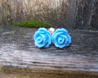 Light Blue Rose with Sterling Silver Post Earrings