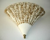 Vintage Wall Pocket  Fan Shape Gold White Plastic  Wall Hanging Shabby Cottage