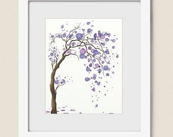 Purple Decor for Home, 16 x 20 Tree Wall Art Print, Lavendar Living Room Art Print, Love Birds, Tree Art (3)