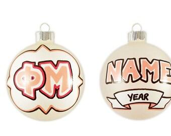 Personalizable Phi Mu Ornament with Quatrefoil