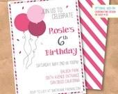 Confetti & Balloons Birthday Invitation - DIY Printable Digital File - Birthday Party - Raspberry Pink Air Mail Stripes Custom 5x7 or 4x6