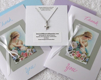 THANK YOU GODMOTHER Card with Hi Quality Rhodium Cross Pendant Necklace