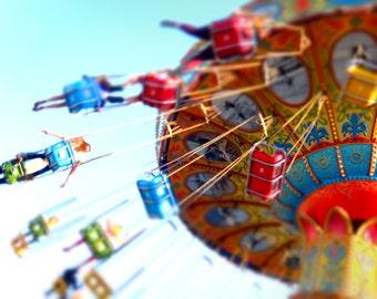 Santa Cruz Carnival Swings, Bright Colorful Nursery Decor, Swings Photograph, 8x10, 11x14, Red, Fun, Playful