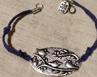 Birds of a Feather  Love Birds of Kitty Cat Cord and Metal Bracelet