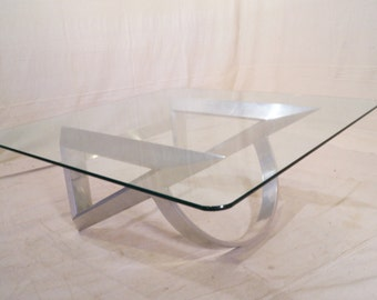 Vintage Aluminum and Glass Coffee Table 70s 80s Roland Schmitt Style