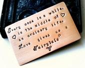 Wallet Insert Card, Copper, BRUSHED MATTE FINISH, Anniversary, Birthday, Wedding, Husband, Boyfriend, Personalized Gift, Love, Poem,