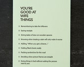wife: you're good at things. letterpress card.