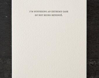 beyonce. letterpress card. #777