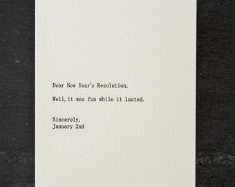 dear new year's resolution. letterpress card. silver envelope. #266