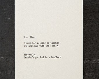 dear wine. holiday. letterpress card. gold envelope. #263
