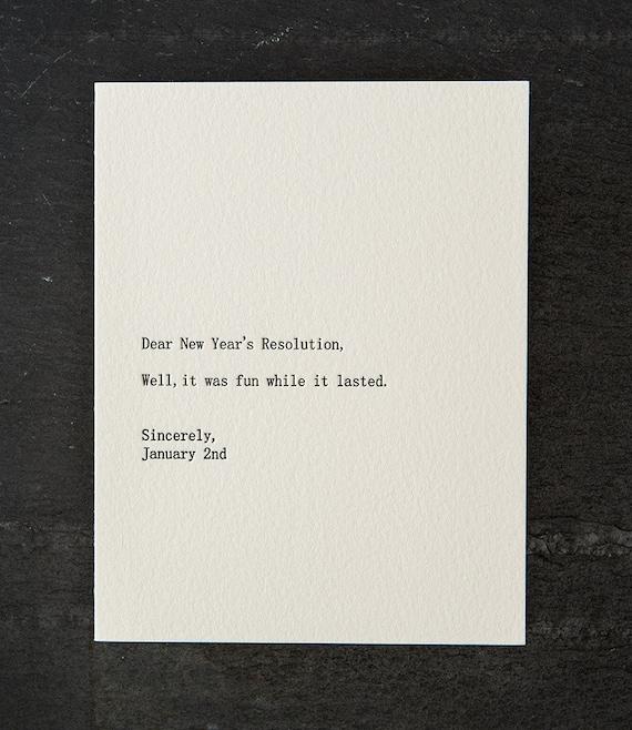 dear new year's resolution. letterpress card. silver envelope. #266