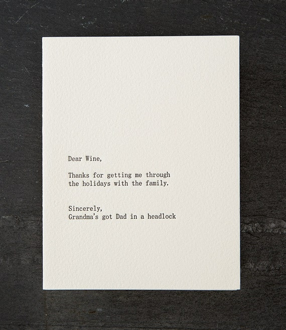 dear wine. holiday. letterpress card. (gold envelope)