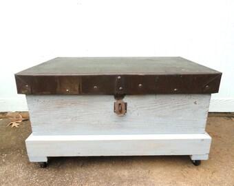Trunk Box Coffee Table Storage Organizer Rolling Wheels Worn Blue Paint Hinged Lid