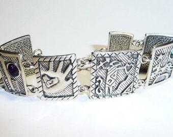 Chunky Link Paneled Southwest Style Sterling Silver Bracelet on Etsy