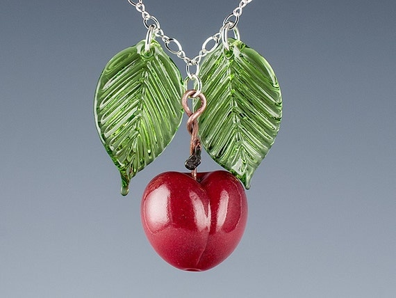 Cherry Necklace, Red Bing, Realistic Glass Lampwork Bead and glass leaves on your choice of metals.  Fruit jewelry for the art glass lover.