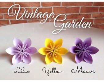 Vintage Garden - Origami Flowers 20pcs - Lilac+Yellow+Mauve