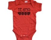 "Te Amo (Spanish for ""I Love You"") Cute Valentine's Day Short Sleeve Baby Bodysuit 100% High Quality Soft Cotton"