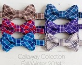 Limited Edition Callaway Collection- boy's plaid chambray double stacked bow ties (adjustable strap or bow tie clip) - choose from 6 prints