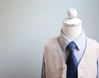 Necktie, Tie Necktie, Boys Tie, Baby Tie, Chambray, Plaid, Navy Tie, Skinny Ties, Navy, Ring Bearer, Wedding, Wedding Gifts- Navy Chambray
