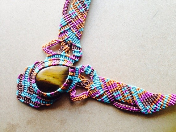 RESERVED- Macrame Necklace with Tiger Eye