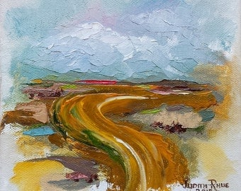 Oil painting abstract landscape road highway country traveling traveler tour travel trip tourist America original USA art 6x6 - Winding Road