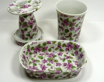 Vintage Bathroom Set With Purple Clematis