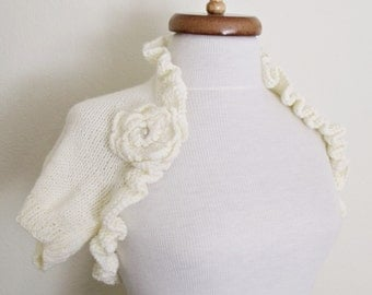 Ivory BRIDAL Shrug With Flowers Brooch -Ready for shipping