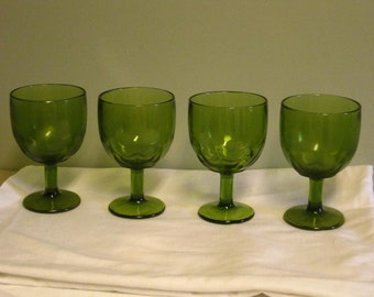 Set of 4 Vintage Large Heavy Green Goblets Thick Pedestal Beer Glass seamed Footed Water Wine Barware