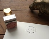 Mid Century Inspired Monogram or Initial Stamp - Custom Stationery or Letterhead Stamp - DIY Stationery - Gift for Men or Women