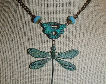 Dragonfly Necklace Verdigris. Dragonfly Necklace Patina. Dragonfly Necklace. Nature Jewelry N111