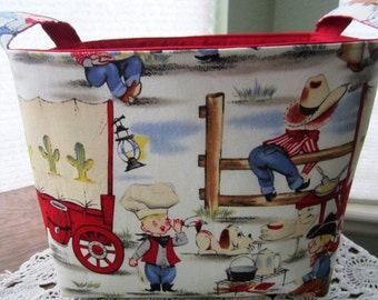 Large Fabric Organizer Container Storage basket Chuck Wagon Cow Boys Ready to Ship