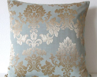 Gold and blue damask decorative pillow cover - 16x16 - dusty blue accent pillow cover