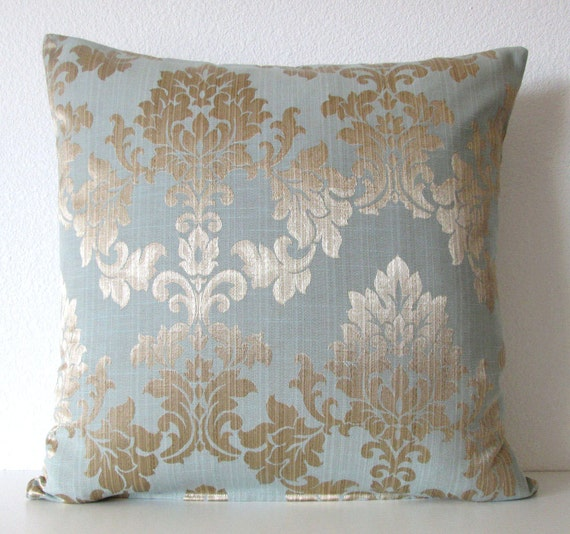 Gold and blue damask decorative pillow cover 16x16 dusty for Blue and gold pillows