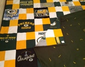 Full/Queen Size Recycled Patchwork Green Bay Packer Tshirt Blanket/Quilt