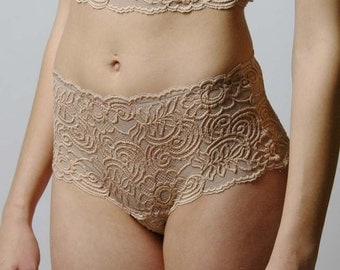 high waisted lace panties - JOY lingerie range - made to order