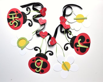 Ladybug baby shower decorations red and black green it's a girl banner by ParkersPrints on Etsy lady bug
