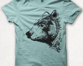 Womens Tshirt, Graphic Tee, Black Bear, Bear Shirt, Forest and Fin, Screenprint T - Aqua